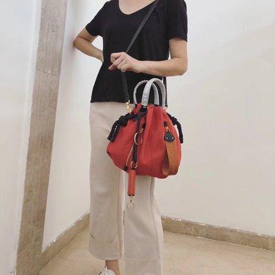 【全新正貨私家珍藏】SEE BY CHLOE Flo tote bag 黑色跟橘紅色手提斜挎包(小號)