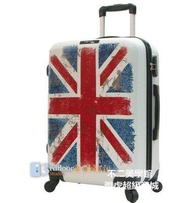 【格倫雅】^MIK 復古英國米字旗行李箱白色拉桿登機箱英倫風國旗5225[g-l-y78