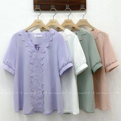 【莉莎小屋】正韓 春款新品(預購) 💝韓國連線代購-V領Y蕾絲衫  circle👚👖OS210407