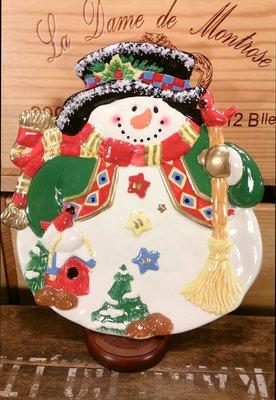 手工彩繪雪人陶瓷展示盤:手工 彩繪 雪人 陶瓷 盤子 展示盤 餐具 設計 收藏 禮品 雜貨