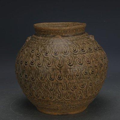 ㊣姥姥的寶藏㊣ 戰國越窯原始青瓷雙系刻花罐子  出土文物古瓷器手工古玩古董收藏