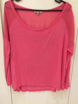 美國購回Juicy couture 桃粉色拼紗棉質上衣M 美國製
