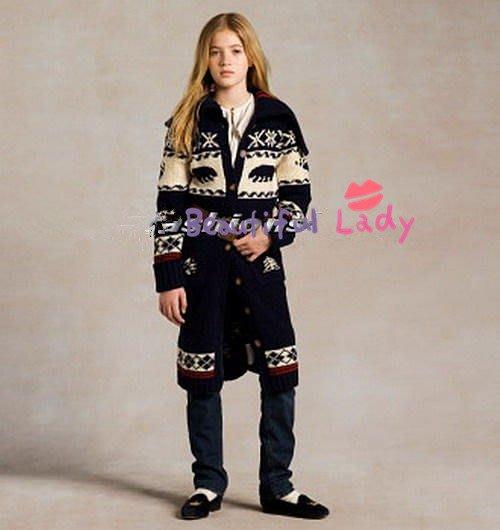 【Polo Ralph Lauren】RL 大女童 Cashmere 羊毛針織外套 大衣 毛衣外套 長版外套 繡花圖騰