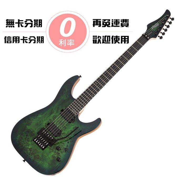 ☆唐尼樂器︵☆分期免運 Schecter C-6 FR Pro AQB 漸層透明綠 原木樹瘤 無搖座 電吉他