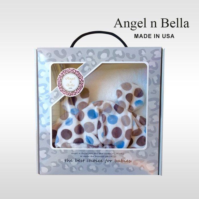 ☆°Angel n Bella.╯☆°【美國製】頂級時尚動物紋連帽浴巾手帕禮盒組-糖果藍(彌月禮/生日禮)