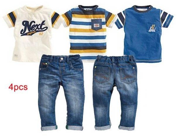 瞳瞳屋-四件組套裝..三件上衣一件牛仔褲約2.5~7歲尺碼--清倉,零碼