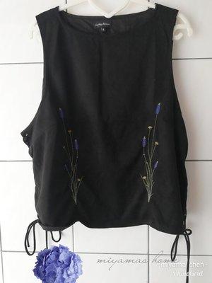 Something Borrowed黑色麂皮刺繡側綁帶背心XL SIZE(FCL0190)