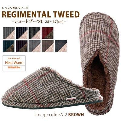 §A-mon日本雜貨屋§北歐LE DEPART WOOL TWEED雜貨風*發熱*柔軟溫暖蓬鬆保暖*千鳥室內拖鞋*日本製