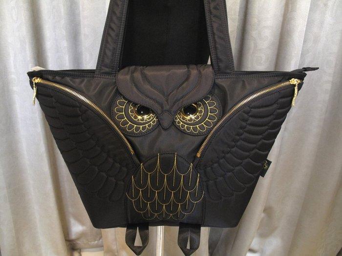 黑底金線貓頭鷹托特包,實品拍攝有店面,香港潮牌Morn Creations授權🌟最特別的禮物都在奧爾思🌟
