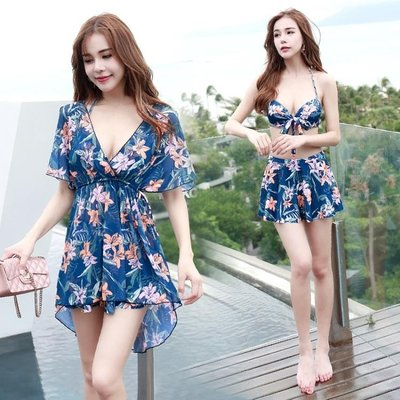 佑游泳衣女三件套韓國溫泉小香風游泳衣分體保守遮肚比基尼泳裝備潮人時尚