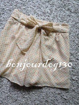轉賣Bonjourdog130 九成新日本正品Jill Stuart米色點點綁帶短褲 S號