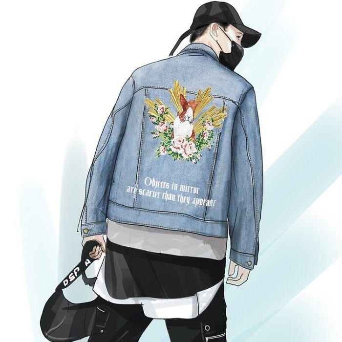 牛仔外套男B1BJ秋季青年韓版時尚修身刺繡牛仔衣外套男潮流83106