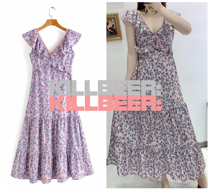 KillBeer:崔姬的花園派對之 歐美復古法式優雅靛藍小碎花粉藕簍空鉤花荷葉V領傘擺連身裙長洋裝A073002