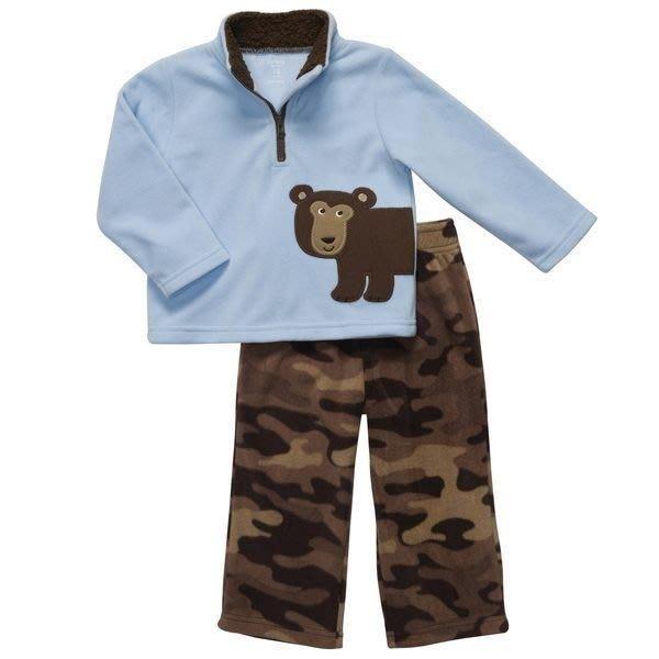 【Nichole's歐美童裝】Carter's男寶寶保暖棕熊長袖刷毛上衣+長褲二件組*Old Navy/OshKosh