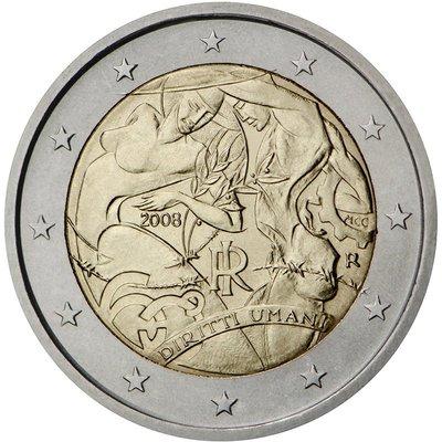 【幣】 EURO 義大利2008年發行 人權宣言60週年 2歐元紀念幣