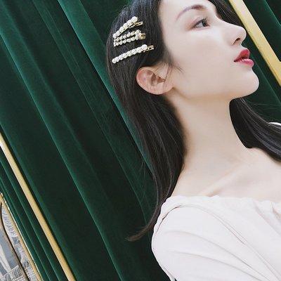 配飾耳環項鏈戒指2018新款網紅超仙珍珠頭發夾一字夾女成人劉海邊夾后腦勺發卡飾品