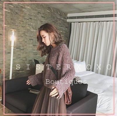 Sis KOREA style 韓國 簡約寬鬆毛衣氣質 歐美風大袖口 針織衫 蝙蝠袖設計感寬鬆長袖