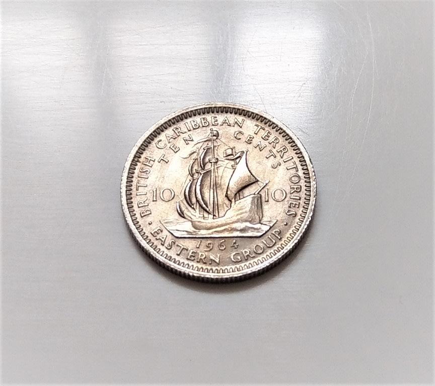 稀少 1964 年 伊麗莎白二世 帆船 加勒比 海盜船 10 Cents 古 錢幣