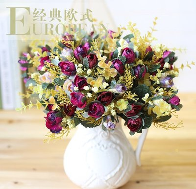 歐式仿真花玫瑰 簡約田園小清新假花花藝絹花花卉飾品
