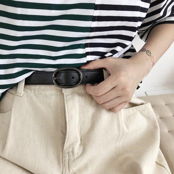 男士皮帶  自動扣皮帶韓版新款腰帶黑色扣頭pu皮帶女士簡約學生流行復古橢圓褲帶潮