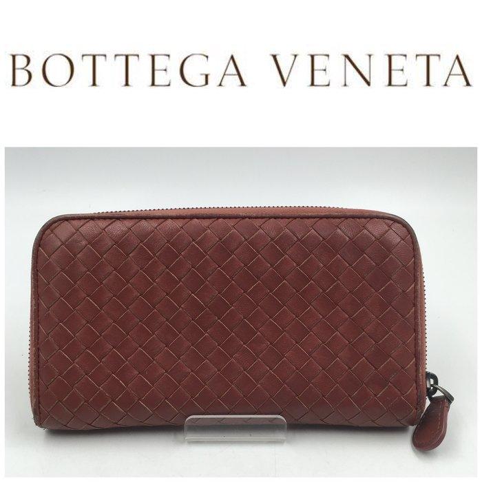 【皮老闆二店】 二手真品 Bottega Veneta 錢包 長夾 BV編織長夾 皮夾  藍332