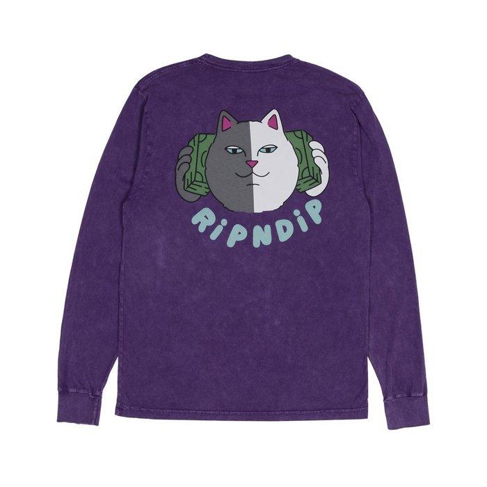 中指貓 台灣總代理 RIPNDIP MONEY TALKS L/S 長袖 渲染紫 美金貓