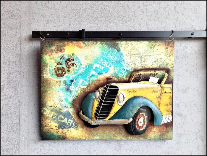 立體木版畫 66號公路黃色賓士古董車壁飾掛畫 60*80復古懷舊美式鄉村工業風模型無框畫壁畫【歐舍傢居】