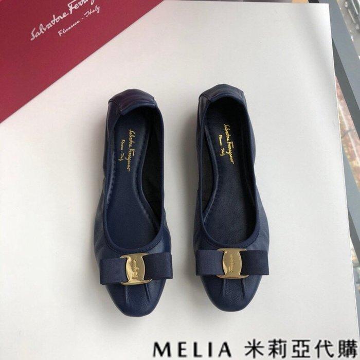 Melia 米莉亞代購 歐美精品女鞋 商城特價 SALVATORE FERRAGAMO 蛋捲鞋 雙蝴蝶結設計 深藍色