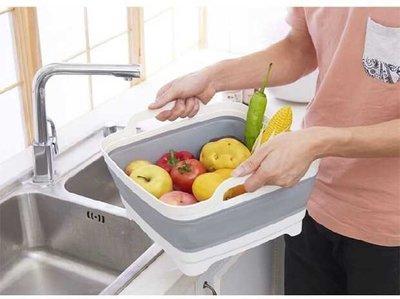 【皮卡布】 現貨-移動水槽 洗菜籃 蔬果 瀝水籃 移動式水槽 折疊式洗菜籃 矽膠 露營用品 可折疊水槽
