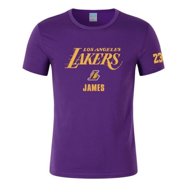 男士圓領套頭T恤 湖人23號詹姆斯籃球比賽訓練服 town