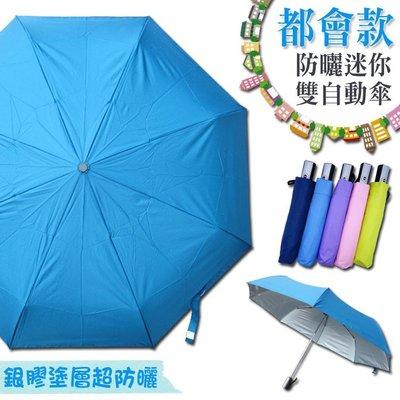 都會款 防曬迷你雙自動傘/防水快乾/一鍵開收/大傘面/防紫外線/抗UV/防水快乾/附收納袋/晴傘/陽傘/遮陽傘/雨傘