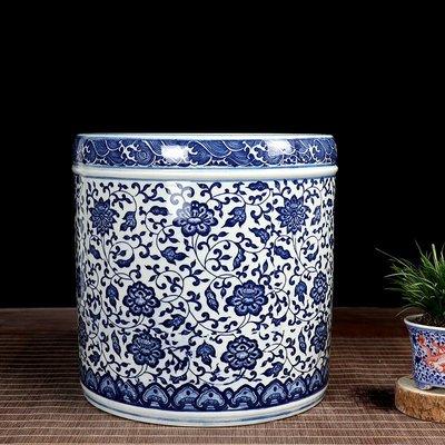 雅典生活館~景德鎮陶瓷青花瓷桌面小型卷軸缸收納缸中式蘭花盆蘭花專用書畫筒