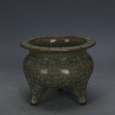 ㊣姥姥的寶藏㊣ 宋代官窯鐵胎青釉三足香爐  出土古瓷器古玩古董收藏復古擺件