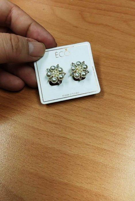 珍珠花牌情緣 夾式耳環(螺旋夾)