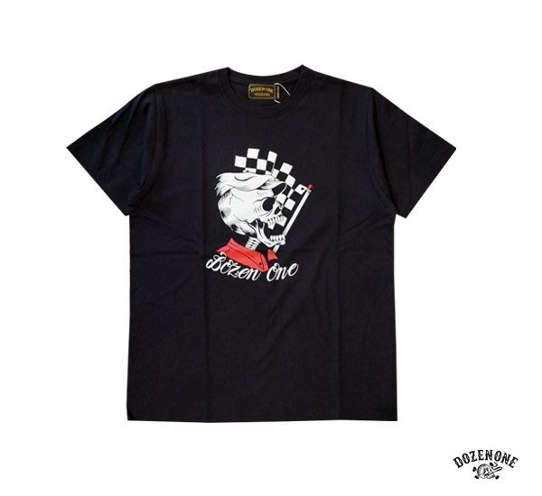 GOODFORIT / 日本品牌Dozen-One DRAG STRIP天竺棉上衣/黑、白、深藍