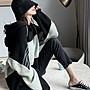 ❤Princess x Shop❤慵懶風大碼連帽T恤大學T衛衣女寬鬆拼接撞色薄款上衣insTS29-108-1韓國同款