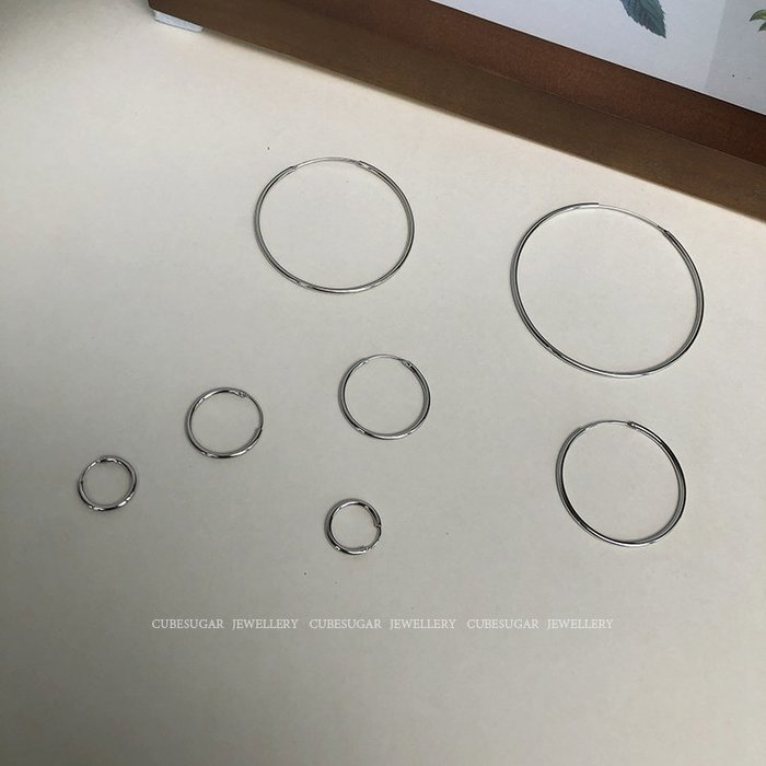 Lissom韓國代購~通體925純銀大小耳圈韓國個性氣質時髦網紅夸張圓形圓圈圈耳環