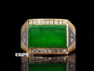 【一元起標】 天然玉石 天然鑽石 黃K金 戒指 鑲鑽 玉戒指 K金玉戒 DWP5238