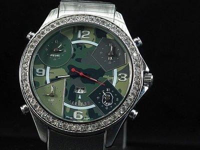 艾曼達精品~無logo,無mark,時尚迷彩面板,城市嘻哈風bling bling水晶鑽五時區石英錶,22mm錶帶
