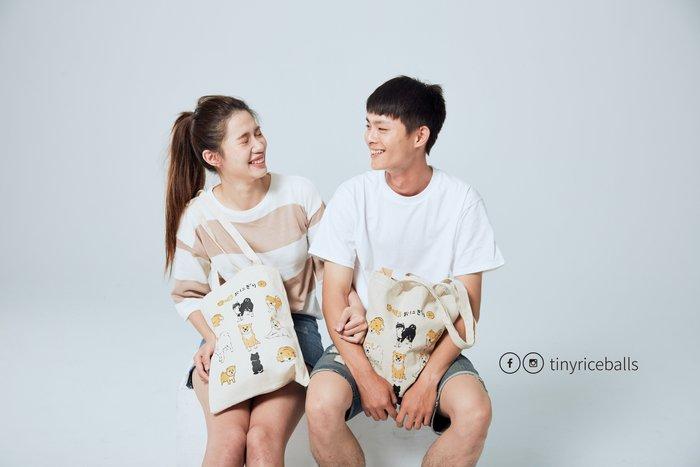 小飯糰 第二代 柴柴團圓飯 手工絹印 布製購物袋