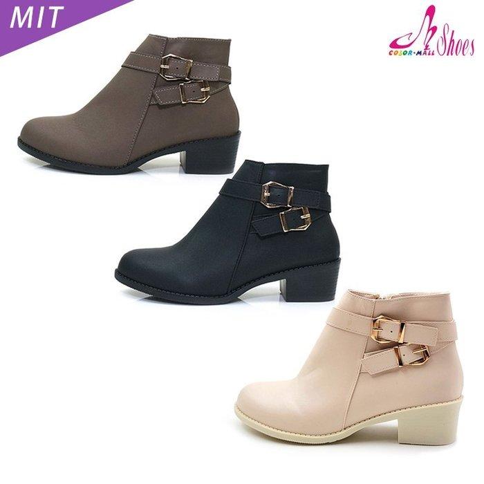 跟靴【CM日韓鞋館】【023-CM7821】MIT金屬雙扣帶中跟短靴.黑/可可/米/咖 4.5cm