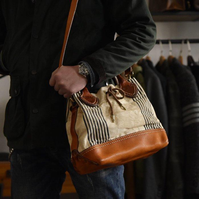 ~皮皮創~原創設計手作包。Vintage復古帆布配植鞣牛皮手提包肩背包美式阿美咔嘰斜背包