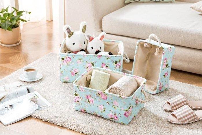 粉紅玫瑰精品屋~玫瑰碎花長方形收納盒收納箱~ 中