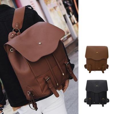 韓國 新款雙肩包學院風韓版 大容量旅行 男士PU皮背包