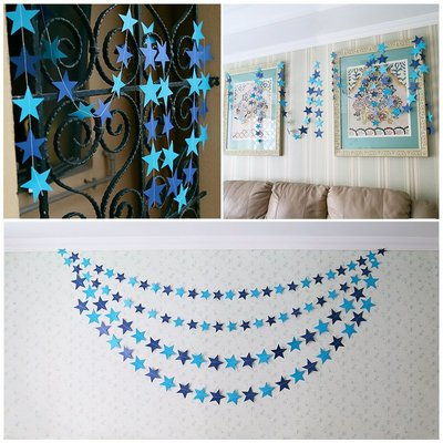 幼兒園開學4米珠光卡紙板星星掛飾吊飾拉花 婚禮派對節日布置道具