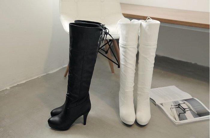 ~Linda~大碼女靴中長款 特大號cd變裝偽娘高跟鞋細跟高筒靴及膝長靴42 44