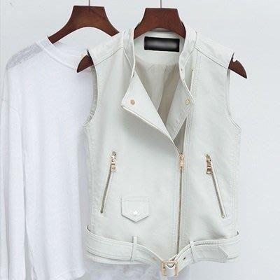 皮背心 皮衣 夾克-西裝領白色腰帶短款女外套73on36[獨家進口][米蘭精品]