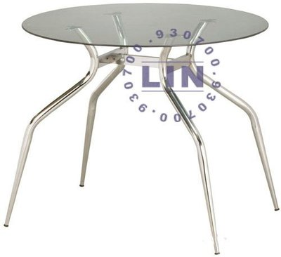 【品特優家具倉儲】P494-34餐桌洽談桌歐風電鍍玻璃圓桌2.5尺