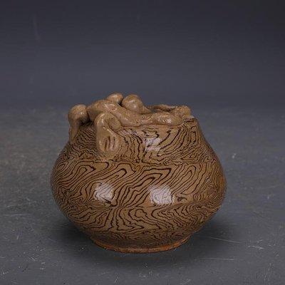 【三顧茅廬 】唐代灰地全手工絞胎瓷捏龍水滴 文物出土古瓷器古玩古董收藏