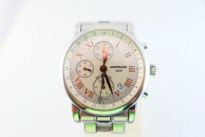 [吉宏精品交流中心]MONTBLANC 萬寶龍 GMT兩地時間 三眼計時 自動機械 男錶